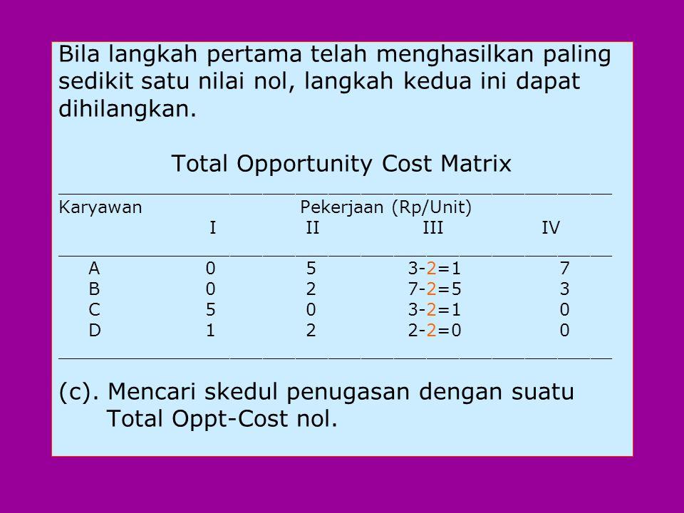 Bila langkah pertama telah menghasilkan paling sedikit satu nilai nol, langkah kedua ini dapat dihilangkan.