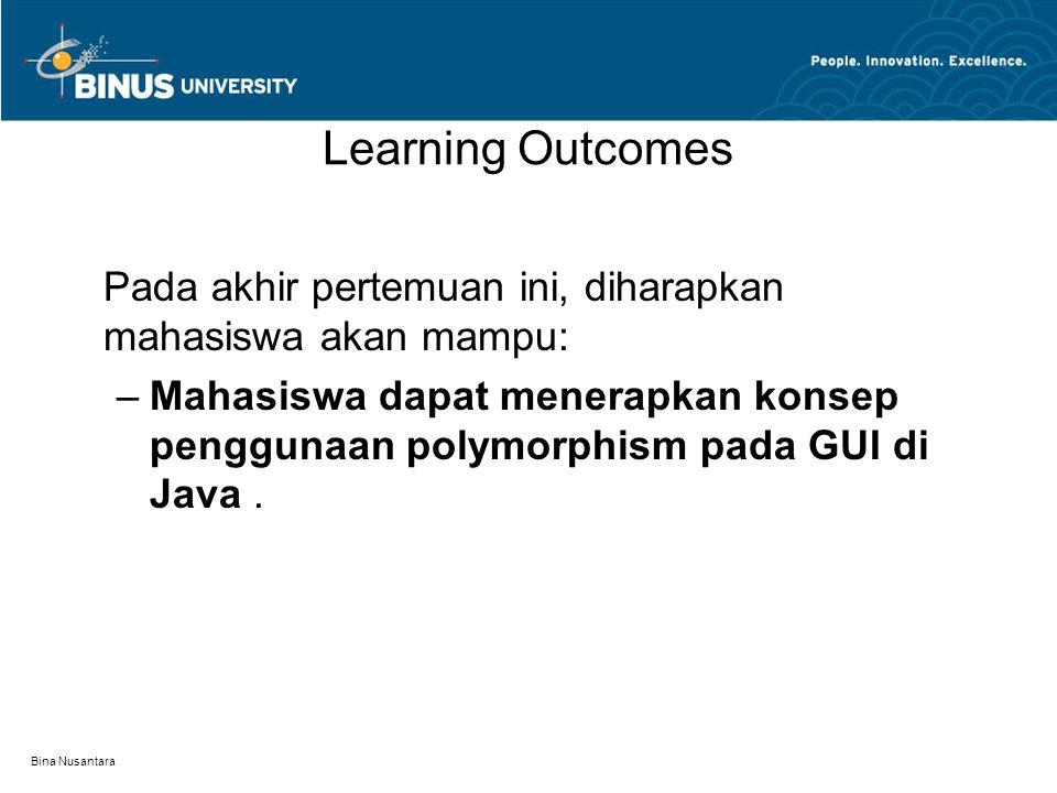 Bina Nusantara Learning Outcomes Pada akhir pertemuan ini, diharapkan mahasiswa akan mampu: –Mahasiswa dapat menerapkan konsep penggunaan polymorphism pada GUI di Java.