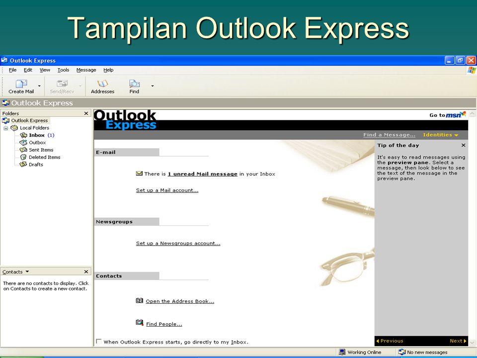 Setting Outlook Express Pilih menu Tools > Accounts Klik tombol Add > Mail hingga muncul windows baru Pilih menu Tools > Accounts Klik tombol Add > Mail hingga muncul windows baru