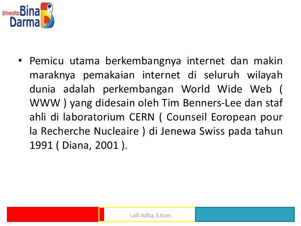 Pemicu utama berkembangnya internet dan makin maraknya pemakaian internet di seluruh wilayah dunia adalah perkembangan World Wide Web ( WWW ) yang didesain oleh Tim Benners-Lee dan staf ahli di laboratorium CERN ( Counseil Eoropean pour la Recherche Nucleaire ) di Jenewa Swiss pada tahun 1991 ( Diana, 2001 ).