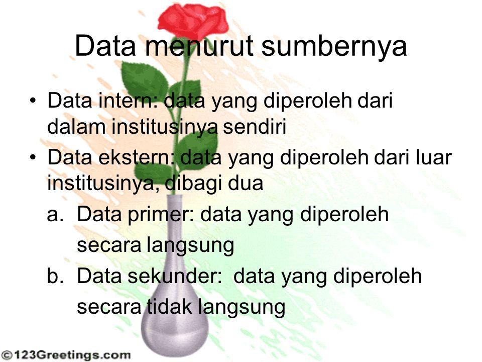 Data menurut sumbernya Data intern: data yang diperoleh dari dalam institusinya sendiri Data ekstern: data yang diperoleh dari luar institusinya, diba