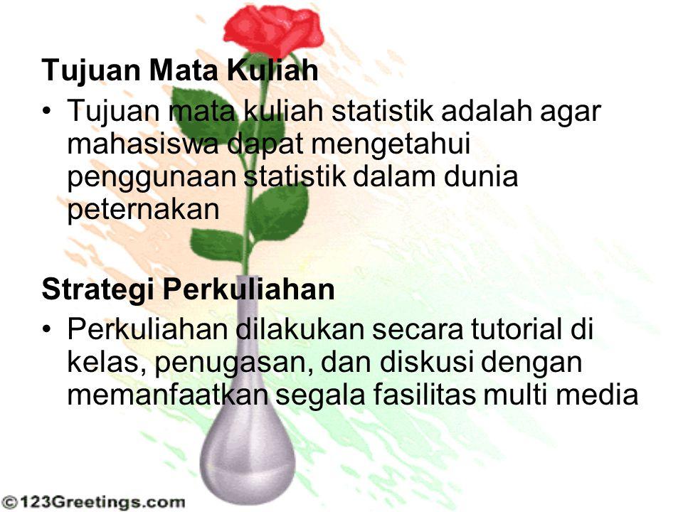 Tujuan Mata Kuliah Tujuan mata kuliah statistik adalah agar mahasiswa dapat mengetahui penggunaan statistik dalam dunia peternakan Strategi Perkuliaha