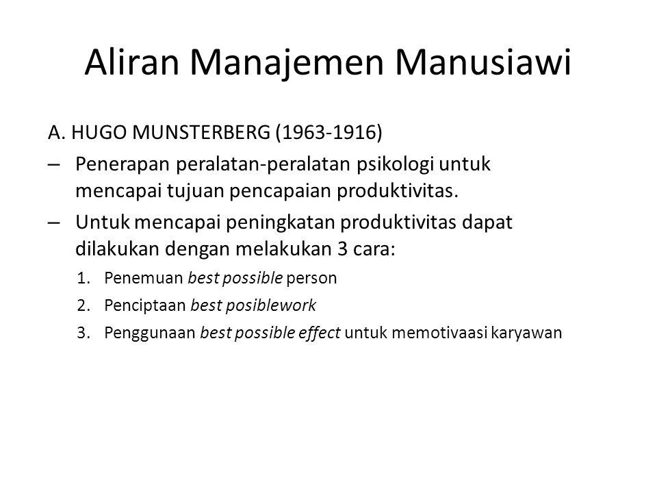 Aliran Manajemen Manusiawi A.