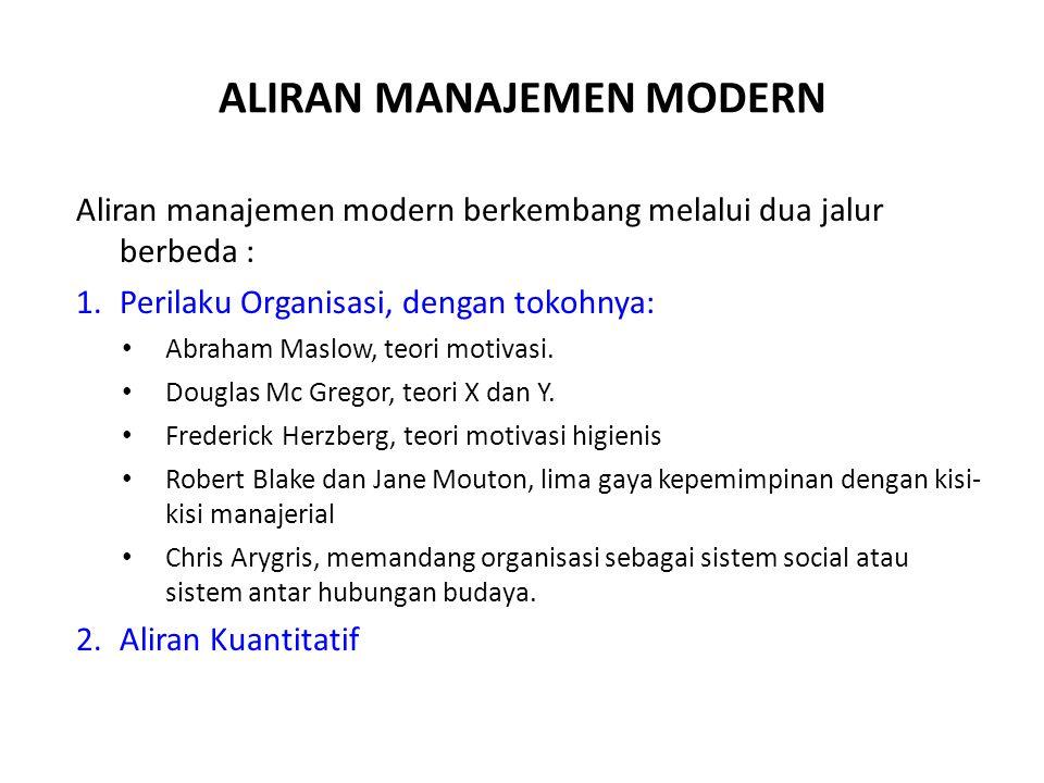 ALIRAN MANAJEMEN MODERN Aliran manajemen modern berkembang melalui dua jalur berbeda : 1.Perilaku Organisasi, dengan tokohnya: Abraham Maslow, teori motivasi.