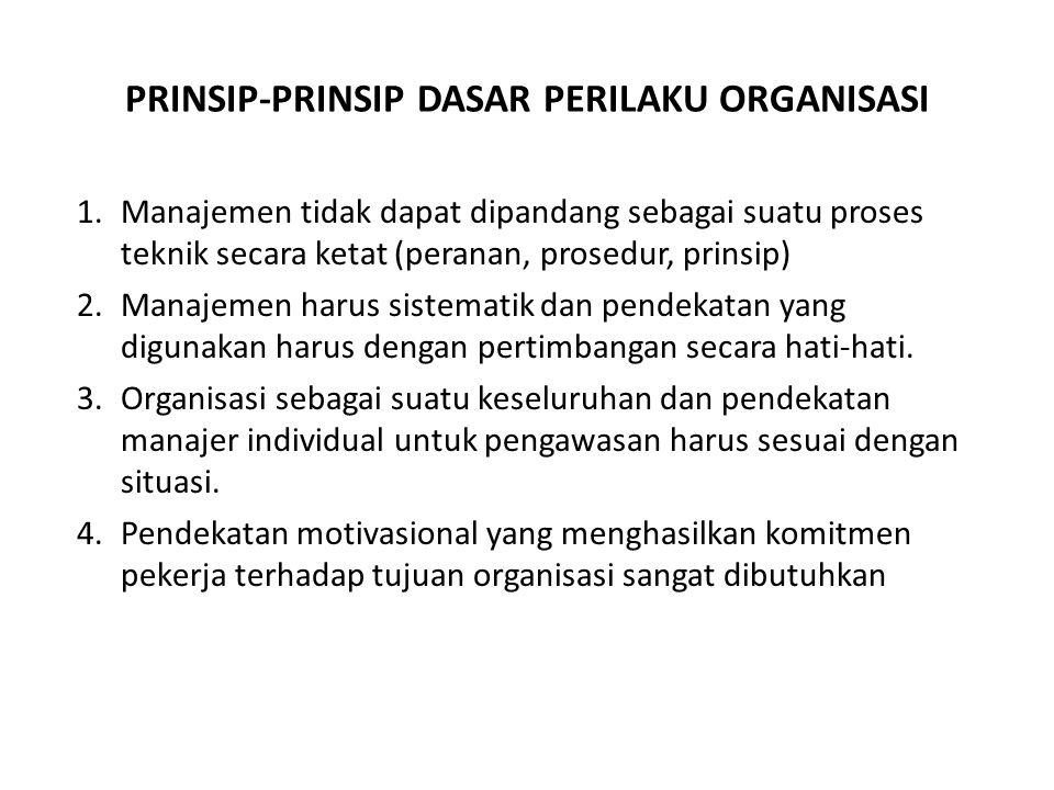 PRINSIP-PRINSIP DASAR PERILAKU ORGANISASI 1.Manajemen tidak dapat dipandang sebagai suatu proses teknik secara ketat (peranan, prosedur, prinsip) 2.Manajemen harus sistematik dan pendekatan yang digunakan harus dengan pertimbangan secara hati-hati.