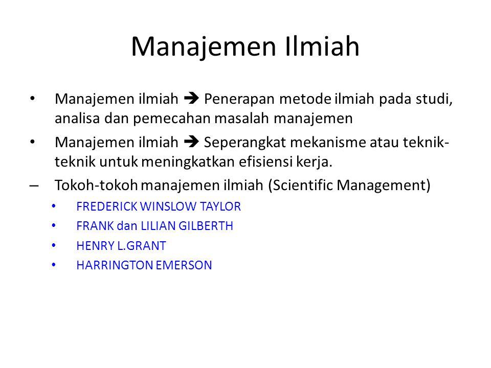 Manajemen Ilmiah Manajemen ilmiah  Penerapan metode ilmiah pada studi, analisa dan pemecahan masalah manajemen Manajemen ilmiah  Seperangkat mekanisme atau teknik- teknik untuk meningkatkan efisiensi kerja.