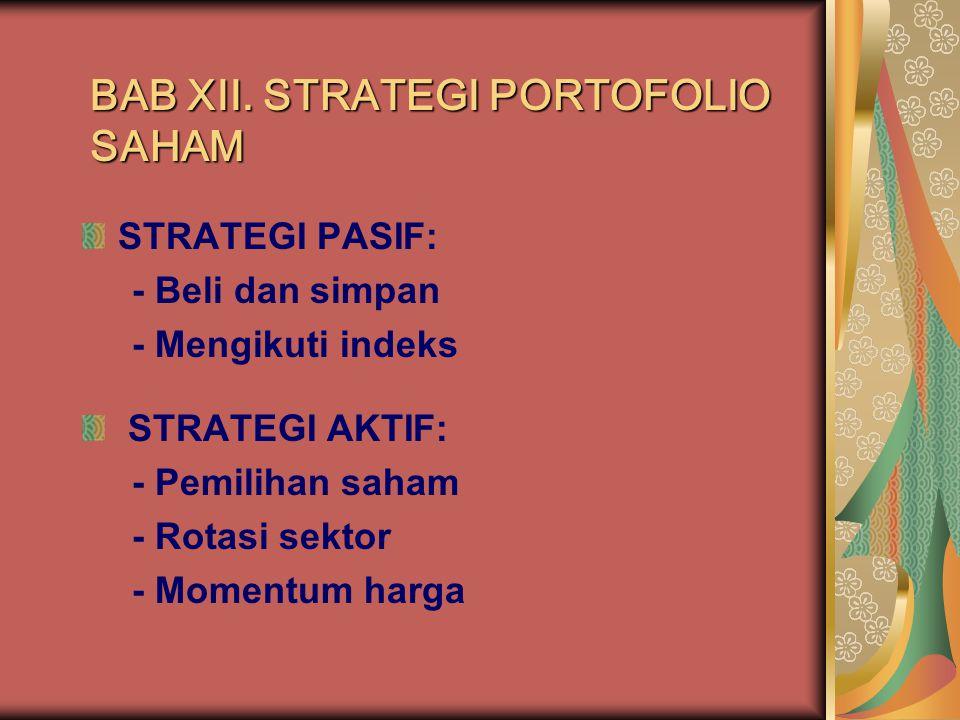 STRATEGI PASIF VS AKTIF Strategi pasif biasanya meliputi tindakan investor yang cenderung pasif dalam berinvestasi pada saham dan hanya mendasarkan pergerakan sahamnya pada pergerakan indeks pasar.