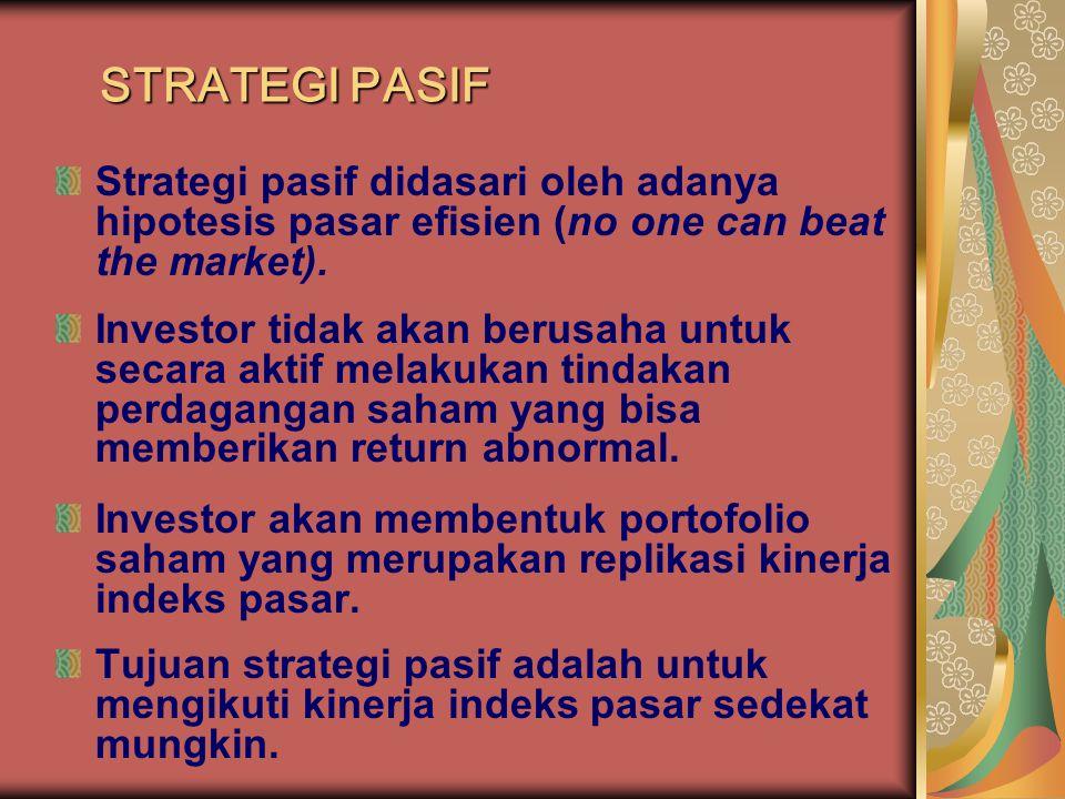 STRATEGI PASIF Strategi pasif didasari oleh adanya hipotesis pasar efisien (no one can beat the market). Investor tidak akan berusaha untuk secara akt