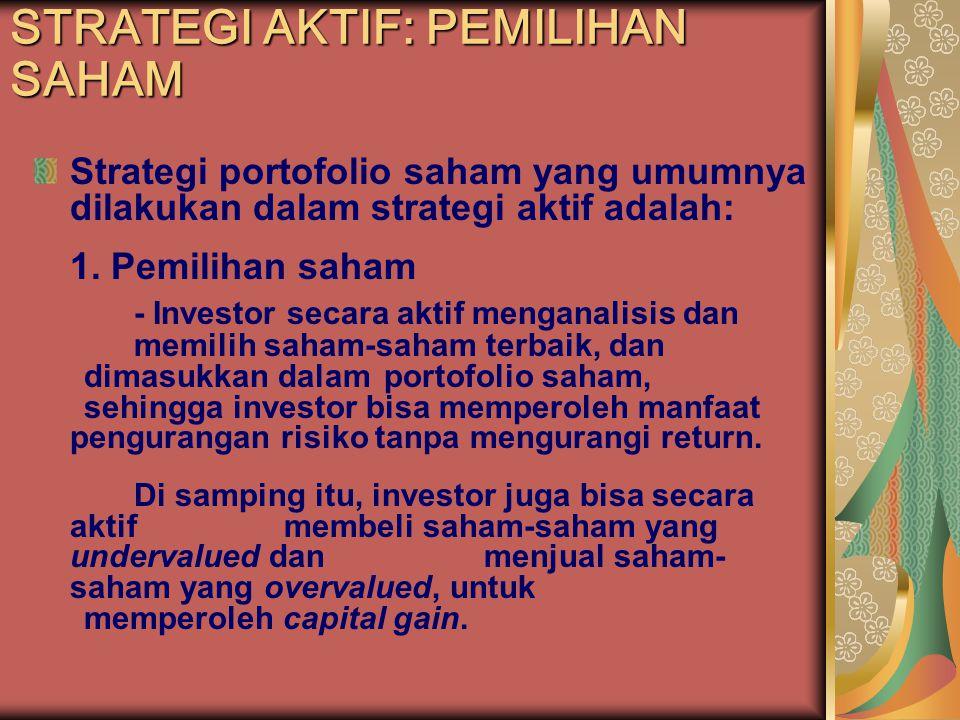 Strategi portofolio saham yang umumnya dilakukan dalam strategi aktif adalah: 1. Pemilihan saham - Investor secara aktif menganalisis dan memilih saha
