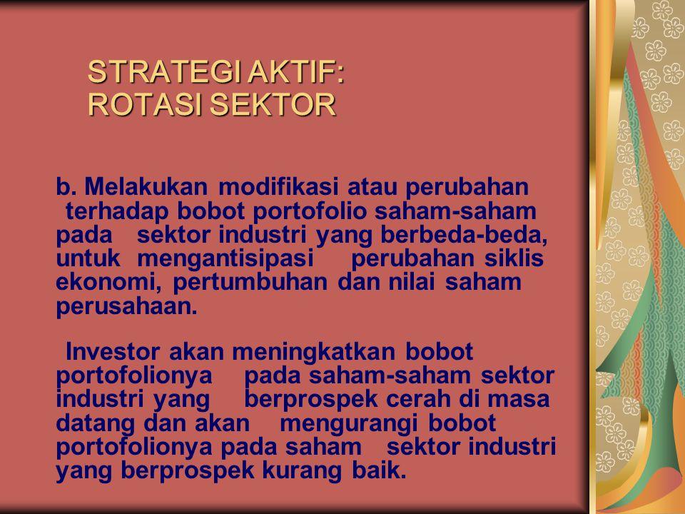 b. Melakukan modifikasi atau perubahan terhadap bobot portofolio saham-saham pada sektor industri yang berbeda-beda, untuk mengantisipasi perubahan si
