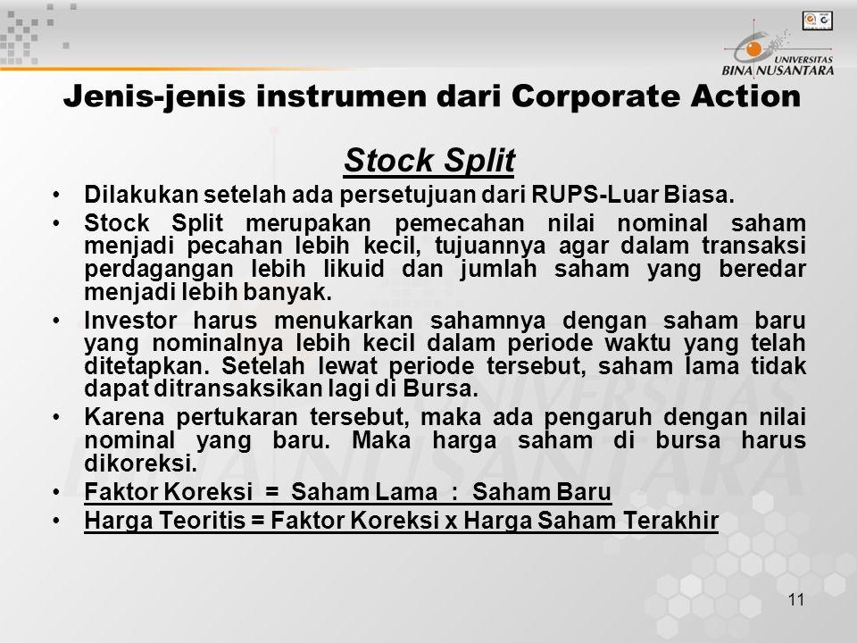 11 Jenis-jenis instrumen dari Corporate Action Stock Split Dilakukan setelah ada persetujuan dari RUPS-Luar Biasa.