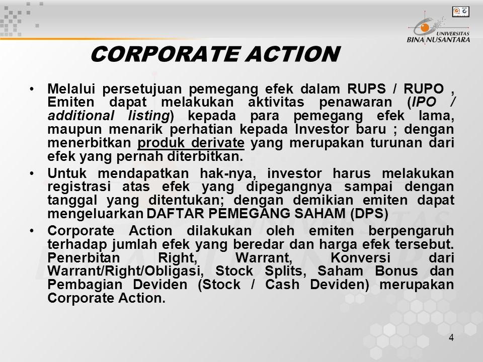 4 CORPORATE ACTION Melalui persetujuan pemegang efek dalam RUPS / RUPO, Emiten dapat melakukan aktivitas penawaran (IPO / additional listing) kepada para pemegang efek lama, maupun menarik perhatian kepada Investor baru ; dengan menerbitkan produk derivate yang merupakan turunan dari efek yang pernah diterbitkan.