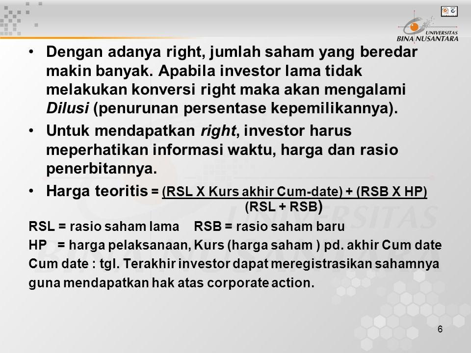 6 Dengan adanya right, jumlah saham yang beredar makin banyak.