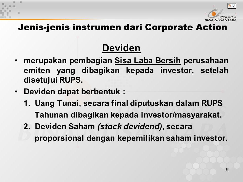 9 Jenis-jenis instrumen dari Corporate Action Deviden merupakan pembagian Sisa Laba Bersih perusahaan emiten yang dibagikan kepada investor, setelah disetujui RUPS.