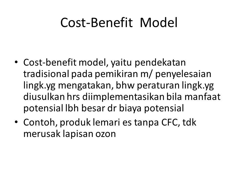 Cost-Benefit Model Cost-benefit model, yaitu pendekatan tradisional pada pemikiran m/ penyelesaian lingk.yg mengatakan, bhw peraturan lingk.yg diusulk