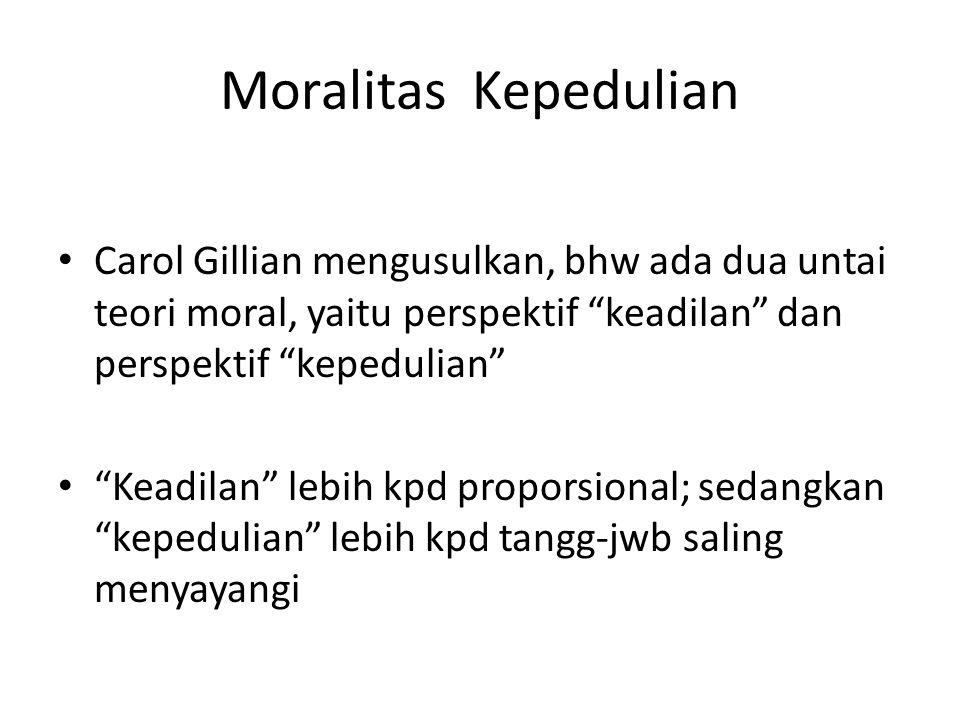 """Moralitas Kepedulian Carol Gillian mengusulkan, bhw ada dua untai teori moral, yaitu perspektif """"keadilan"""" dan perspektif """"kepedulian"""" """"Keadilan"""" lebi"""