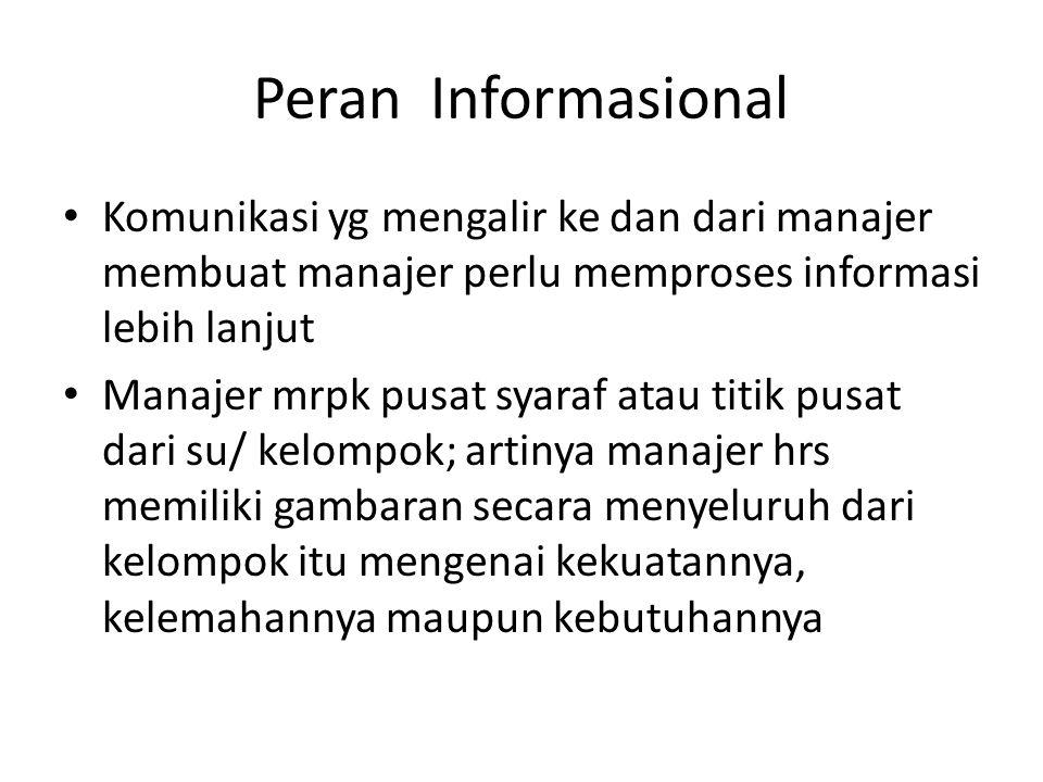 Peran Informasional Komunikasi yg mengalir ke dan dari manajer membuat manajer perlu memproses informasi lebih lanjut Manajer mrpk pusat syaraf atau t