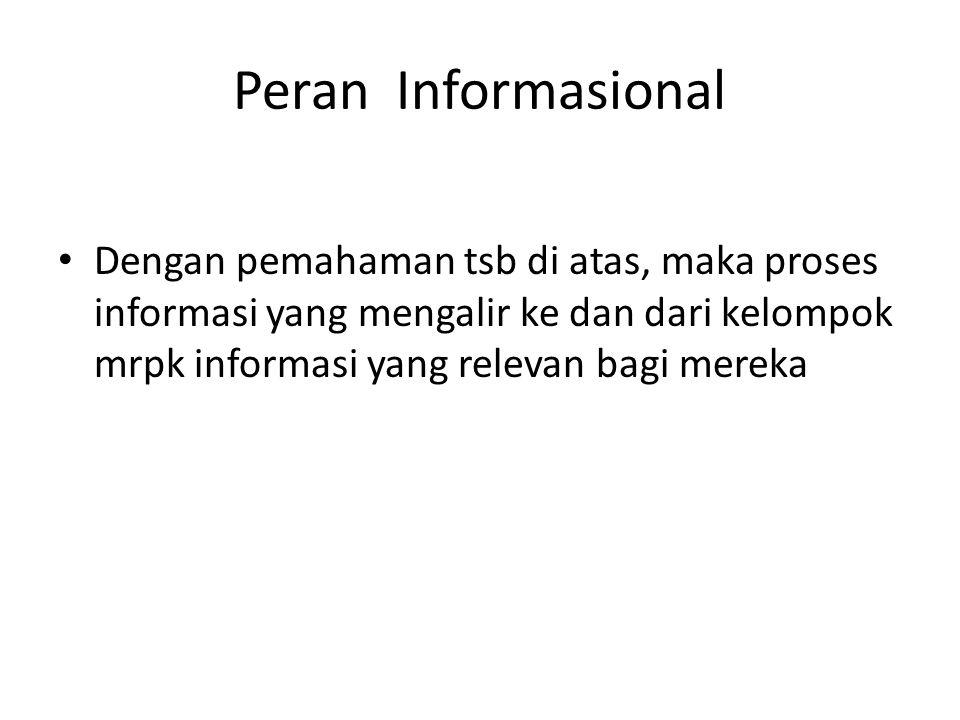 Peran Informasional Dengan pemahaman tsb di atas, maka proses informasi yang mengalir ke dan dari kelompok mrpk informasi yang relevan bagi mereka
