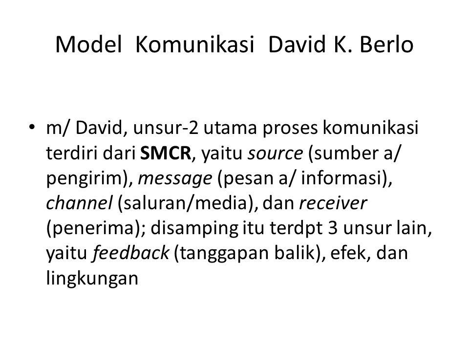 Model Komunikasi David K. Berlo m/ David, unsur-2 utama proses komunikasi terdiri dari SMCR, yaitu source (sumber a/ pengirim), message (pesan a/ info