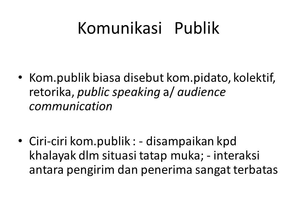 Komunikasi Publik Kom.publik biasa disebut kom.pidato, kolektif, retorika, public speaking a/ audience communication Ciri-ciri kom.publik : - disampai
