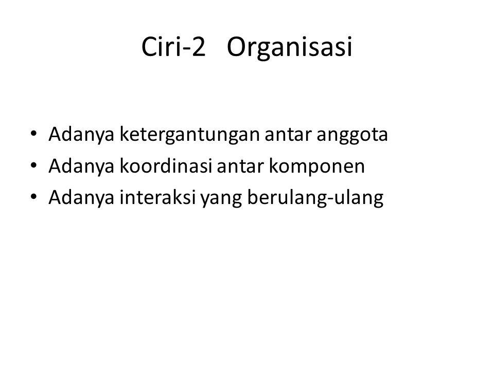 Ciri-2 Organisasi Adanya ketergantungan antar anggota Adanya koordinasi antar komponen Adanya interaksi yang berulang-ulang