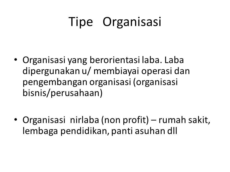 Tipe Organisasi Organisasi yang berorientasi laba. Laba dipergunakan u/ membiayai operasi dan pengembangan organisasi (organisasi bisnis/perusahaan) O