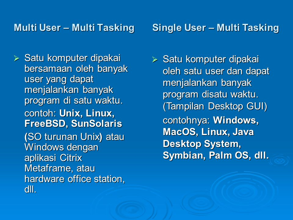 Multi User – Multi Tasking  Satu komputer dipakai bersamaan oleh banyak user yang dapat menjalankan banyak program di satu waktu.