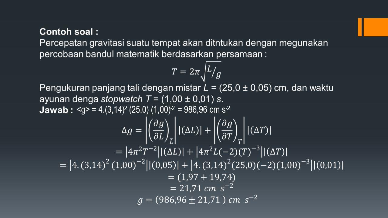 = 4.(3,14) 2 (25,0) (1,00) -2 = 986,96 cm s -2