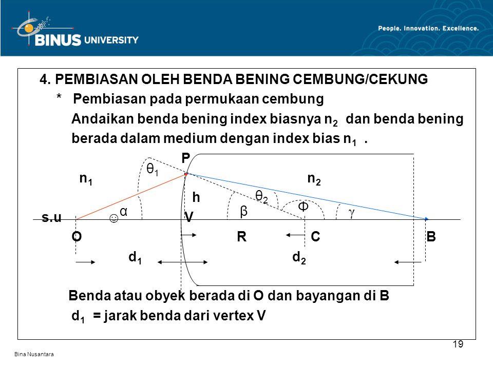 Bina Nusantara 4. PEMBIASAN OLEH BENDA BENING CEMBUNG/CEKUNG * Pembiasan pada permukaan cembung Andaikan benda bening index biasnya n 2 dan benda beni