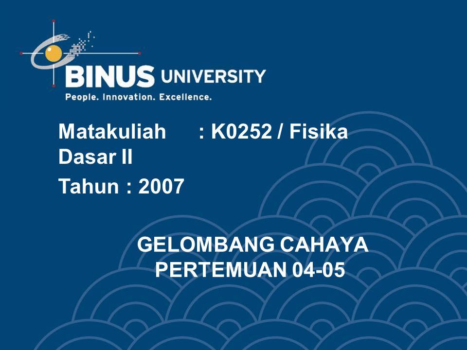 GELOMBANG CAHAYA PERTEMUAN 04-05 Matakuliah: K0252 / Fisika Dasar II Tahun: 2007