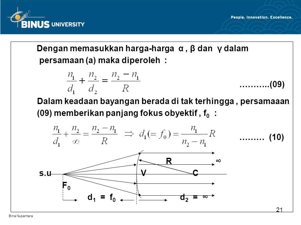 Bina Nusantara Dengan memasukkan harga-harga α, β dan γ dalam persamaan (a) maka diperoleh : ………..(09) Dalam keadaan bayangan berada di tak terhingga, persamaaan (09) memberikan panjang fokus obyektif, f 0 : ……… (10) R ∞ s.u V C F 0 d 1 = f 0 d 2 = ∞ 21