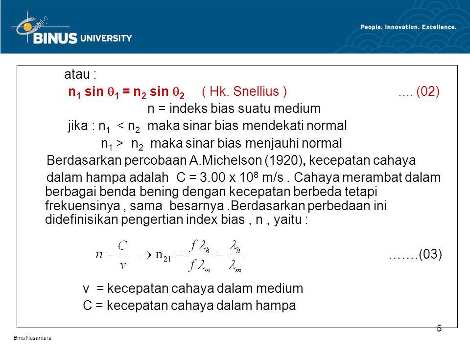 Bina Nusantara atau : n 1 sin  1 = n 2 sin  2 ( Hk. Snellius ).... (02) n = indeks bias suatu medium jika : n 1 < n 2 maka sinar bias mendekati norm