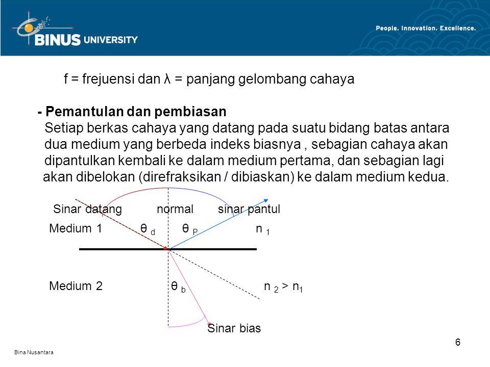 Bina Nusantara 6 f = frejuensi dan λ = panjang gelombang cahaya - Pemantulan dan pembiasan Setiap berkas cahaya yang datang pada suatu bidang batas antara dua medium yang berbeda indeks biasnya, sebagian cahaya akan dipantulkan kembali ke dalam medium pertama, dan sebagian lagi akan dibelokan (direfraksikan / dibiaskan) ke dalam medium kedua.