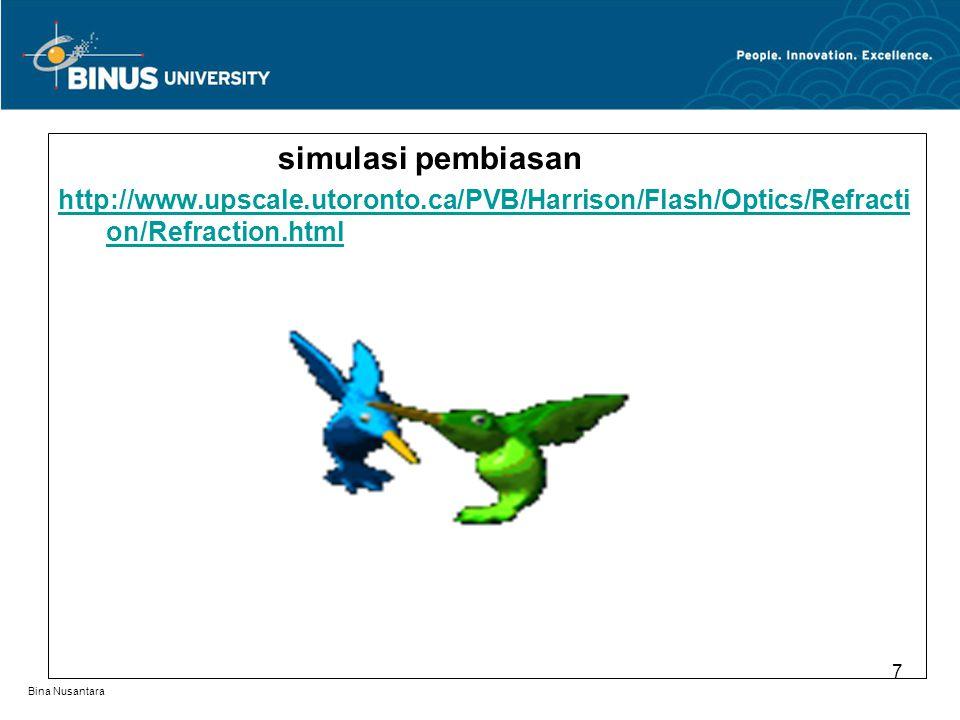 Bina Nusantara simulasi pembiasan http://www.upscale.utoronto.ca/PVB/Harrison/Flash/Optics/Refracti on/Refraction.html 7
