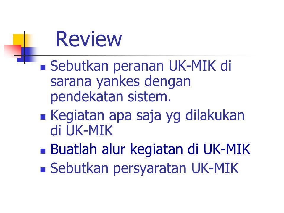 Review Sebutkan peranan UK-MIK di sarana yankes dengan pendekatan sistem.