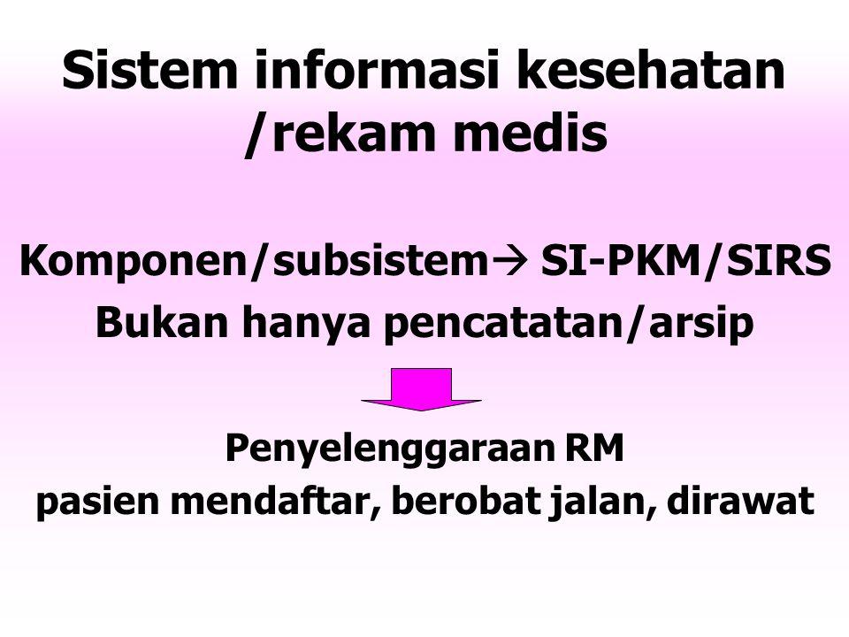 Sistem informasi kesehatan /rekam medis Komponen/subsistem  SI-PKM/SIRS Bukan hanya pencatatan/arsip Penyelenggaraan RM pasien mendaftar, berobat jalan, dirawat