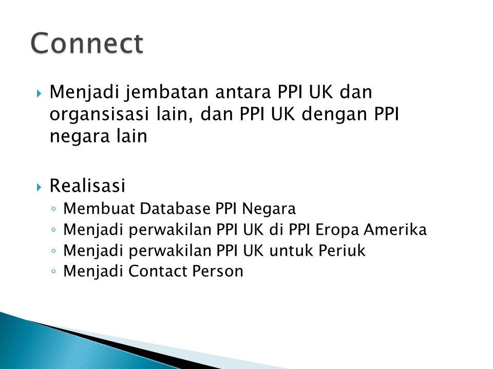  Menjadi jembatan antara PPI UK dan organsisasi lain, dan PPI UK dengan PPI negara lain  Realisasi ◦ Membuat Database PPI Negara ◦ Menjadi perwakilan PPI UK di PPI Eropa Amerika ◦ Menjadi perwakilan PPI UK untuk Periuk ◦ Menjadi Contact Person