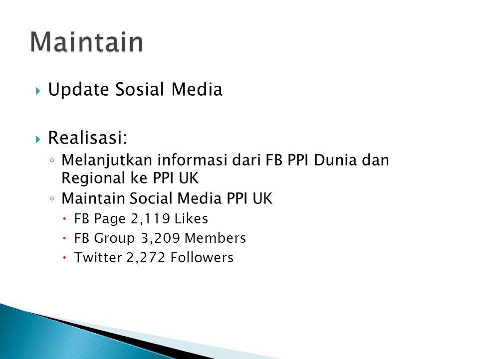  Update Sosial Media  Realisasi: ◦ Melanjutkan informasi dari FB PPI Dunia dan Regional ke PPI UK ◦ Maintain Social Media PPI UK  FB Page 2,119 Likes  FB Group 3,209 Members  Twitter 2,272 Followers