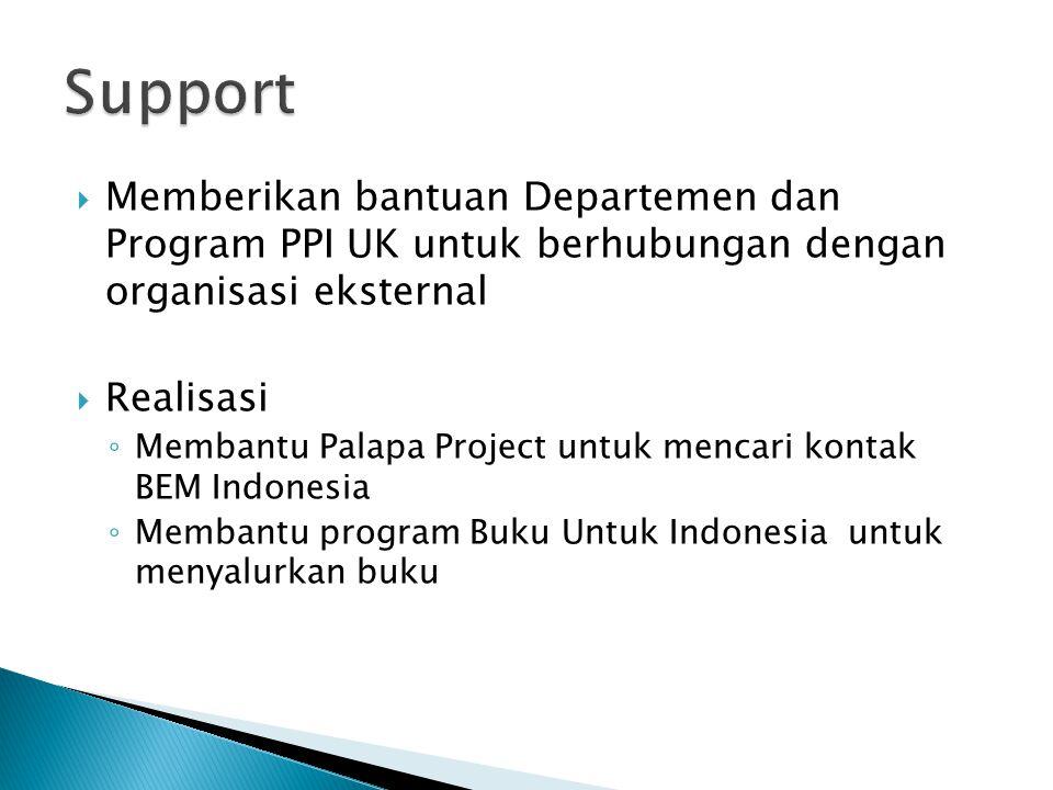  Memberikan bantuan Departemen dan Program PPI UK untuk berhubungan dengan organisasi eksternal  Realisasi ◦ Membantu Palapa Project untuk mencari kontak BEM Indonesia ◦ Membantu program Buku Untuk Indonesia untuk menyalurkan buku