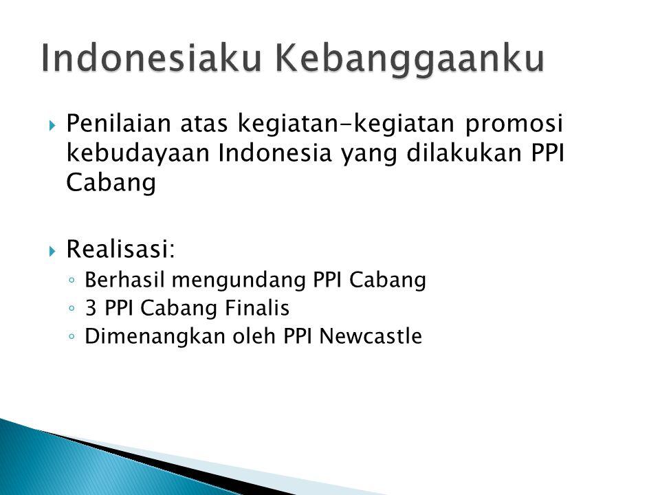  Penilaian atas kegiatan-kegiatan promosi kebudayaan Indonesia yang dilakukan PPI Cabang  Realisasi: ◦ Berhasil mengundang PPI Cabang ◦ 3 PPI Cabang Finalis ◦ Dimenangkan oleh PPI Newcastle