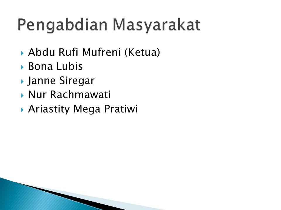  Abdu Rufi Mufreni (Ketua)  Bona Lubis  Janne Siregar  Nur Rachmawati  Ariastity Mega Pratiwi