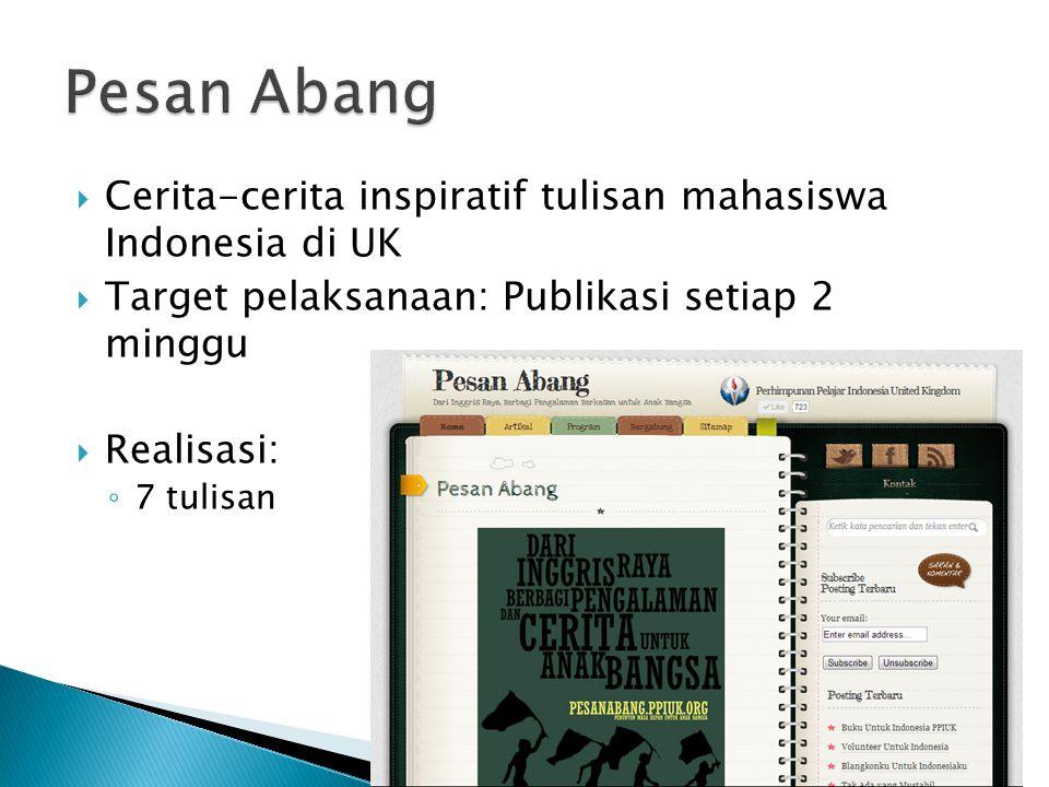  Cerita-cerita inspiratif tulisan mahasiswa Indonesia di UK  Target pelaksanaan: Publikasi setiap 2 minggu  Realisasi: ◦ 7 tulisan