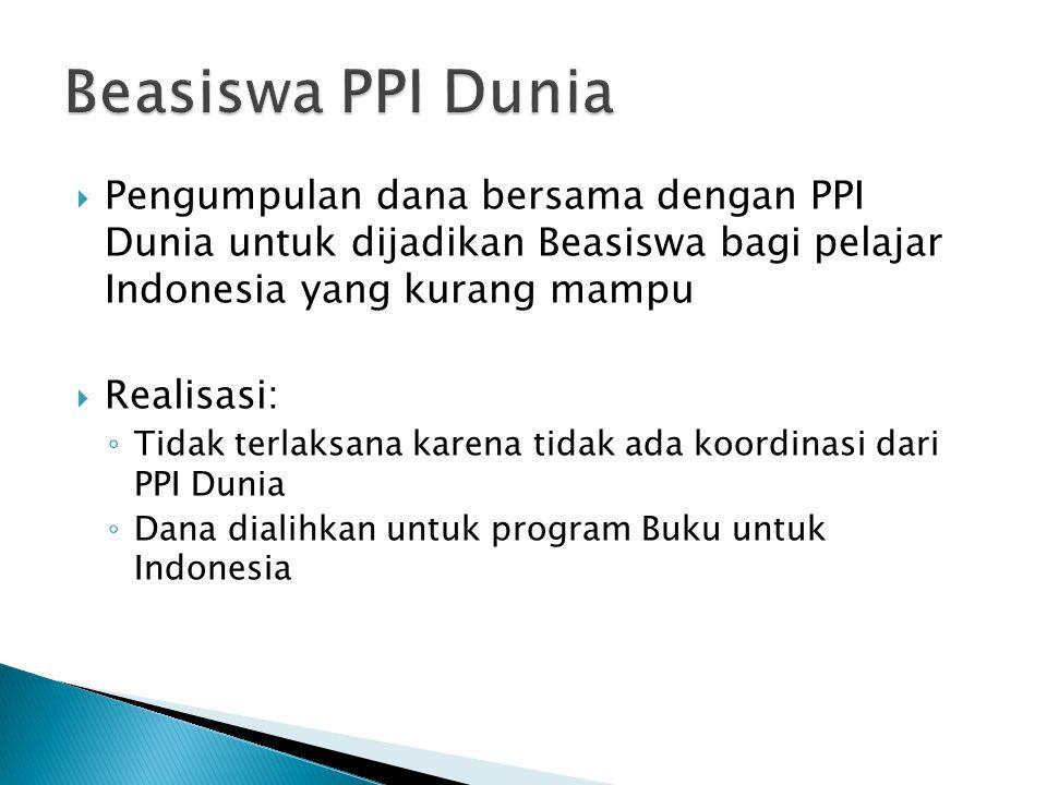  Pengumpulan dana bersama dengan PPI Dunia untuk dijadikan Beasiswa bagi pelajar Indonesia yang kurang mampu  Realisasi: ◦ Tidak terlaksana karena tidak ada koordinasi dari PPI Dunia ◦ Dana dialihkan untuk program Buku untuk Indonesia