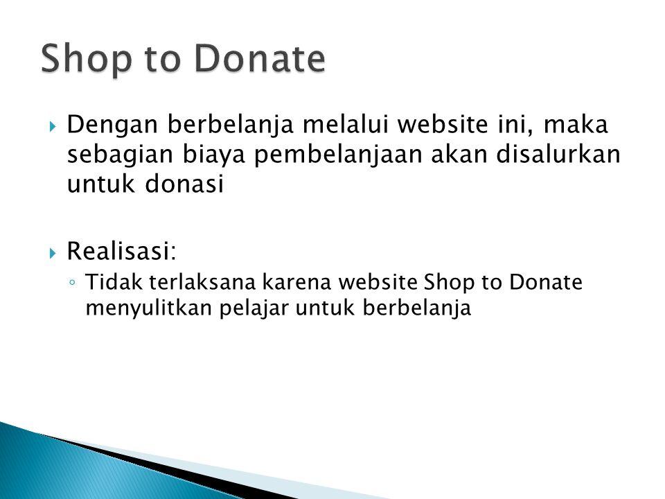  Dengan berbelanja melalui website ini, maka sebagian biaya pembelanjaan akan disalurkan untuk donasi  Realisasi: ◦ Tidak terlaksana karena website Shop to Donate menyulitkan pelajar untuk berbelanja