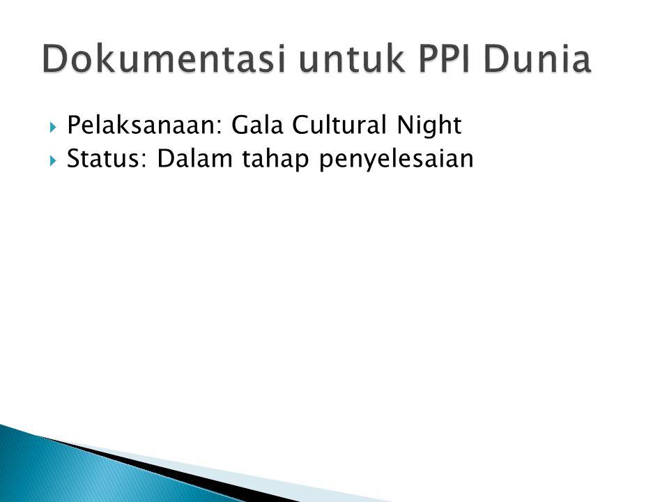  Pelaksanaan: Gala Cultural Night  Status: Dalam tahap penyelesaian