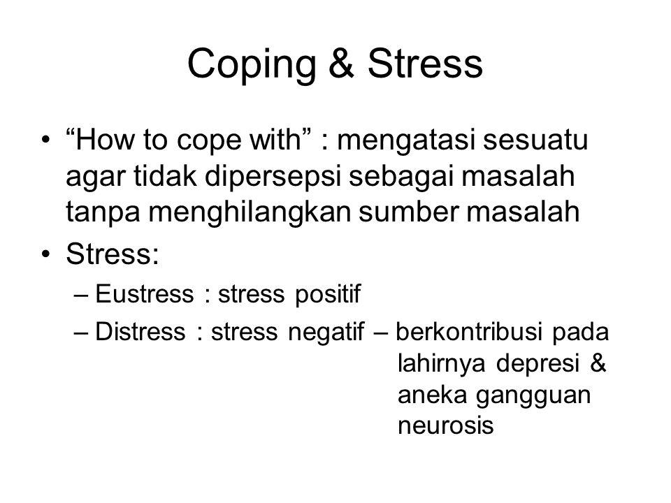 Coping & Stress How to cope with : mengatasi sesuatu agar tidak dipersepsi sebagai masalah tanpa menghilangkan sumber masalah Stress: –Eustress : stress positif –Distress : stress negatif – berkontribusi pada lahirnya depresi & aneka gangguan neurosis