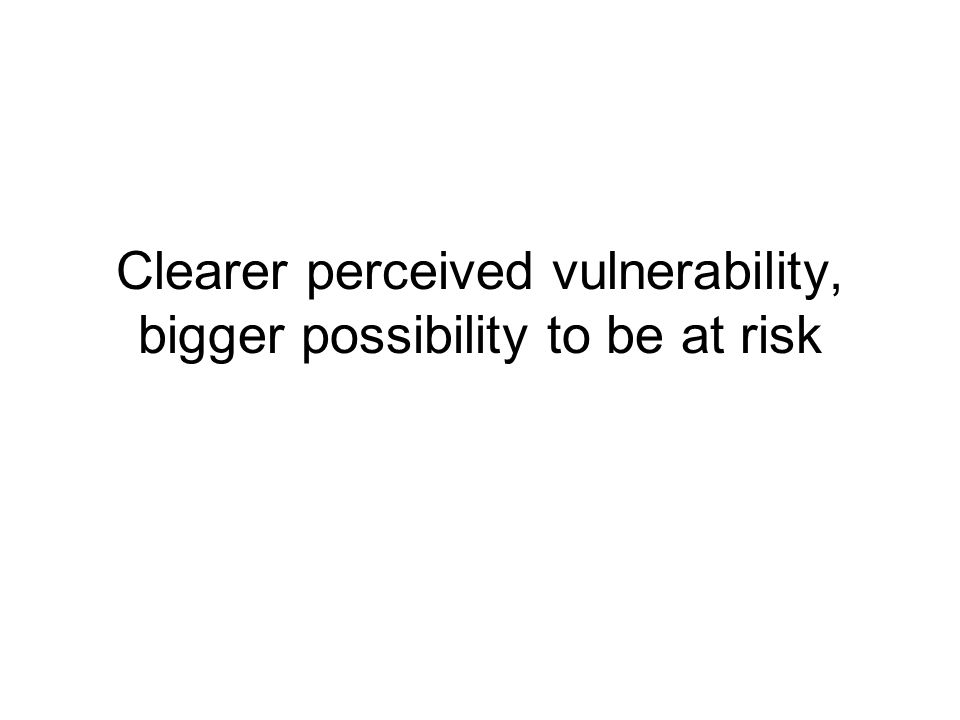Clearer perceived vulnerability, bigger possibility to be at risk