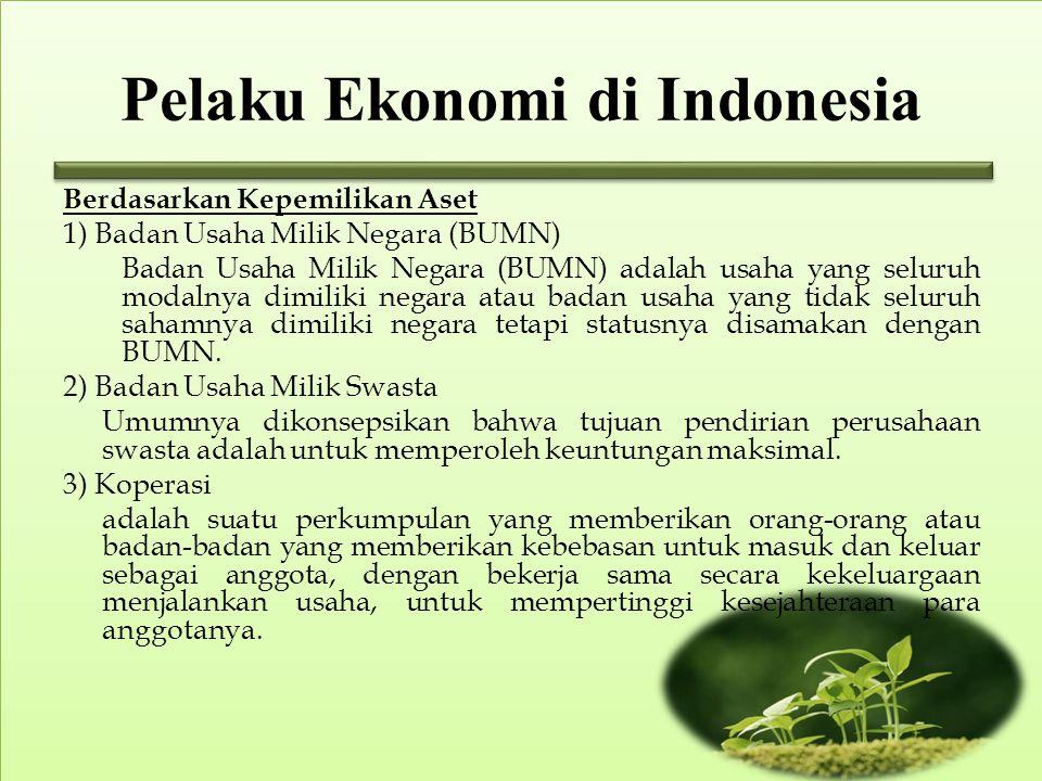 Pelaku Ekonomi di Indonesia Berdasarkan Kepemilikan Aset 1) Badan Usaha Milik Negara (BUMN) Badan Usaha Milik Negara (BUMN) adalah usaha yang seluruh modalnya dimiliki negara atau badan usaha yang tidak seluruh sahamnya dimiliki negara tetapi statusnya disamakan dengan BUMN.