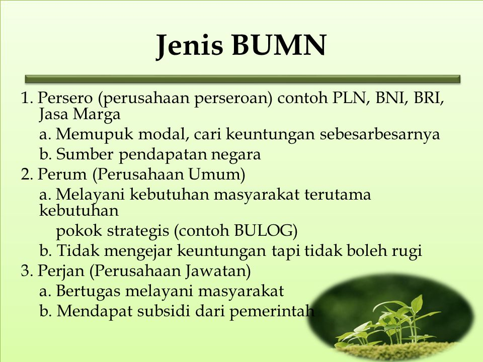 Jenis BUMN 1.Persero (perusahaan perseroan) contoh PLN, BNI, BRI, Jasa Marga a.