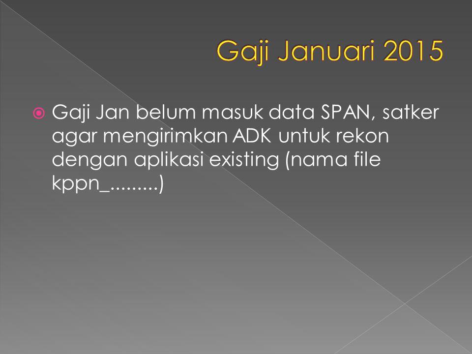  Gaji Jan belum masuk data SPAN, satker agar mengirimkan ADK untuk rekon dengan aplikasi existing (nama file kppn_.........)